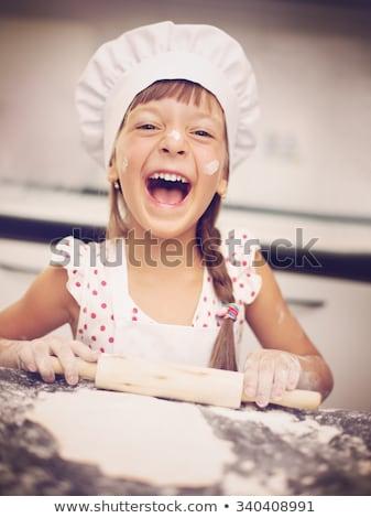 Küçük kız pin haddeleme kız mavi şef çocuk Stok fotoğraf © photography33