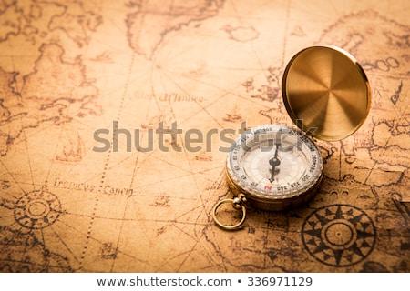 Stockfoto: Vintage · navigatie · uitrusting · kompas · papier · kaart