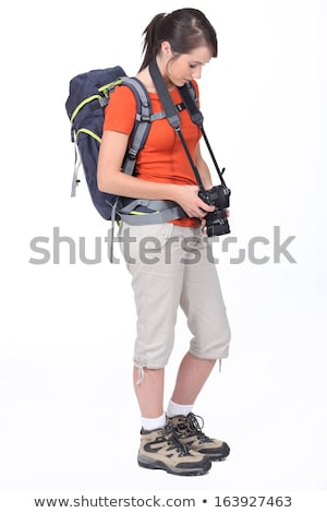 cute · femenino · caminante · cámara · aislado · blanco - foto stock © photography33