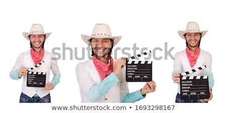 Young man aiming a firearm on white background Stock photo © pzaxe