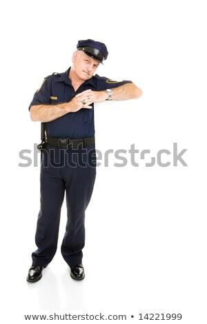 Zdjęcia stock: Policeman Leaning On White Space