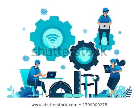 мужчины · инженер · рабочих · чертежи · компьютер - Сток-фото © lisafx