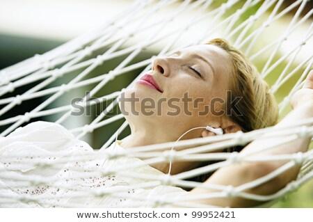 Urlaub · Mädchen · Hängematte · ruhend · entspannenden · lächelnd - stock foto © photography33