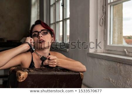 Stock fotó: Nő · piros · alsónemű · bilincs · fiatal · nő · lány