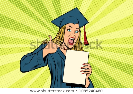 Portrait Of A Pretty Woman With Cap And Book Smiling At The Camera Against A White Background Stock fotó © studiostoks