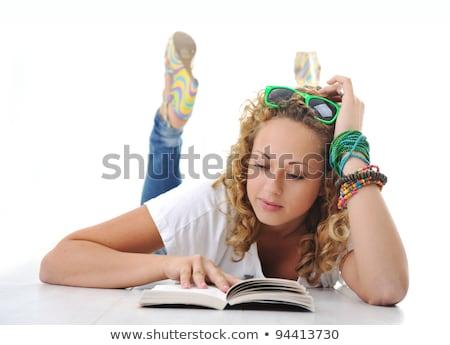 Blond charmant vloer leren woonkamer Stockfoto © wavebreak_media