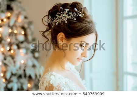 Portrait of beautiful brunette lady with short hair Stock photo © PawelSierakowski