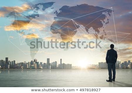Internationale bedrijfsleven vlaggen wereld perspectief symbool Stockfoto © Lightsource