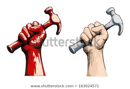 Rajz kéz tart kalapács rajz szerszám Stock fotó © indiwarm