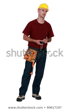 A very annoyed tradesman holding a chalk line Stock photo © photography33