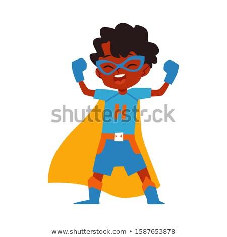 fiú · szuperhős · karok · portré · fehér · gyermek - stock fotó © wavebreak_media