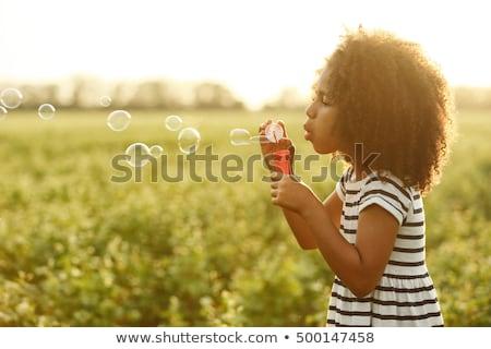 Stock fotó: Lány · buborékfújás · virágok · kert · virág · baba