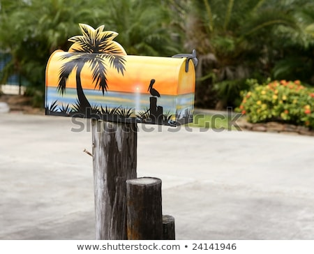 Fun artistic mail box with tropical fish decoration Stock photo © lunamarina