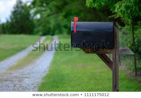 Zwarte mailbox weg mooie vallen loof Stockfoto © ArenaCreative