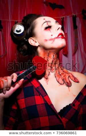 Szexi vámpír tart üveg vér telihold Stock fotó © oksanika