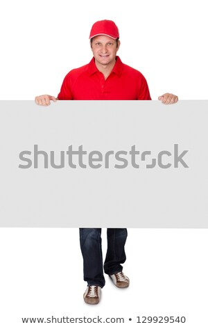 menino · uniforme · oferta · pizza · isolado · branco - foto stock © andreypopov
