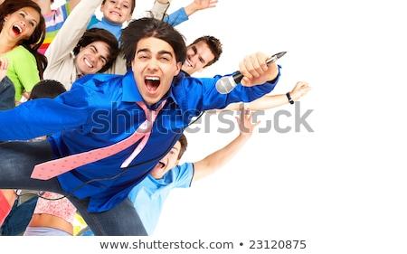 Karaoke feliz isolado branco mão festa Foto stock © Kurhan