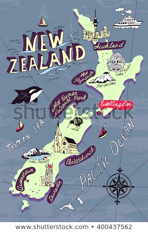 Сток-фото: Cartoon · Skyline · силуэта · город · Новая · Зеландия · зданий