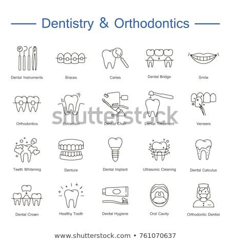стоматолога икона вектора набор иконки зубов Сток-фото © vectorpro