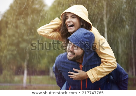 pár · flörtöl · portré · boldog · fiatal · pér · ősz - stock fotó © dnf-style