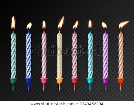 Luz velas de cumpleaños torta iluminación alimentos feliz Foto stock © meinzahn