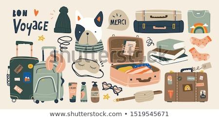 Utazás bőrönd vektor utazás színes város Stock fotó © beaubelle