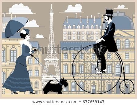 Cavalheiro senhora guarda-chuva cidade mulher menina Foto stock © leonido