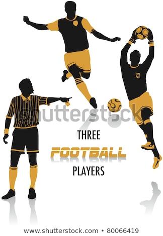 Arbitro sagome sport calcio bandiera silhouette Foto d'archivio © Slobelix