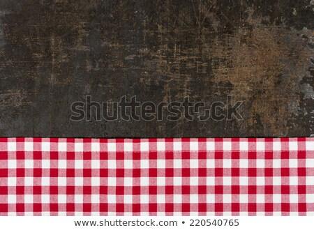 eski · tepsi · kırmızı · masa · örtüsü - stok fotoğraf © zerbor