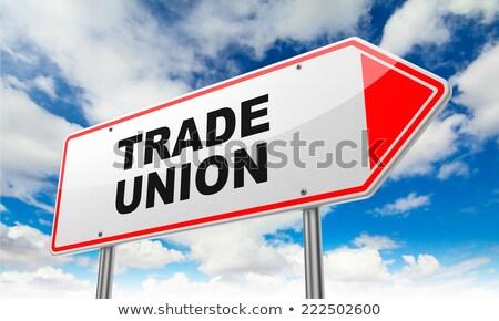 Comércio união vermelho placa sinalizadora céu Foto stock © tashatuvango