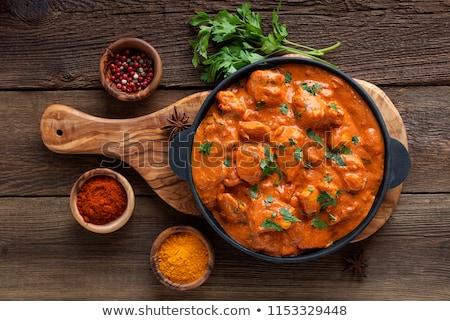 caril · de · frango · frango · jantar · refeição · cozinhado · culinária - foto stock © m-studio