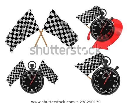 rice concept   checkered flags with a stopwatch stock photo © tashatuvango