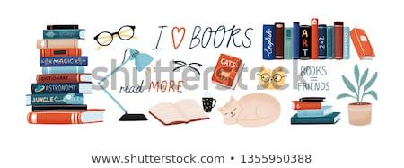 Libros estantería uno libro abierto lectura Foto stock © Vg