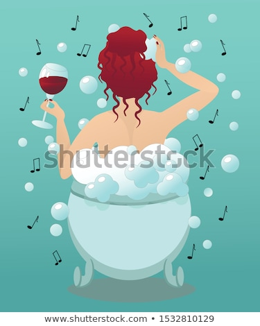 time to relax cute woman in bubble bath stock photo © lordalea