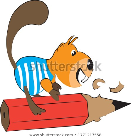 Beaver Holding Pencil - Cartoon Illustration, Vector Stock photo © derocz