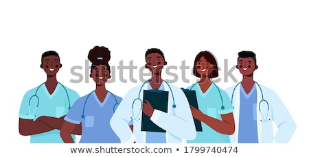 férfi · orvos · illusztráció · sztetoszkóp · orvosi · diagram · toll - stock fotó © Morphart