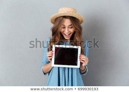 gelukkig · mooie · dame · foto · jonge - stockfoto © deandrobot