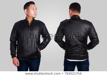 Jóképű ázsiai férfi bőrdzseki férfi visel Stock fotó © phakimata