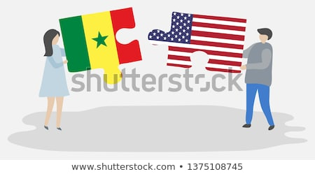 Stock photo: USA and Senegal Flags in puzzle