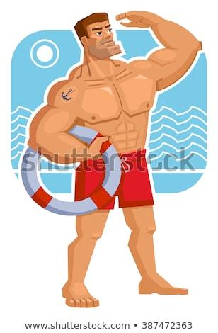Stockfoto: Aantrekkelijk · mannelijke · lichaam · bouwer · Blauw · bewondering