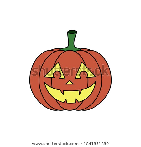 vector decorative colored pumkin with smile isolated on black ba stock photo © lissantee