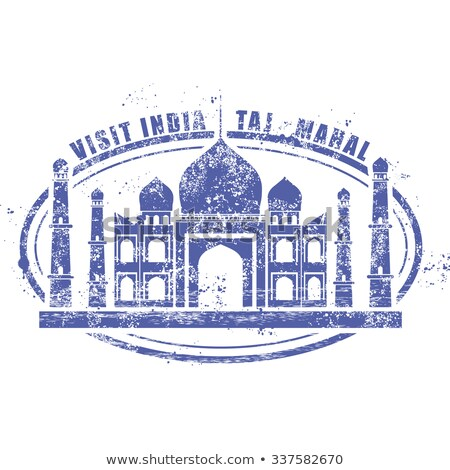 Stamp with Taj Mahal palace - visit India Stock photo © Winner