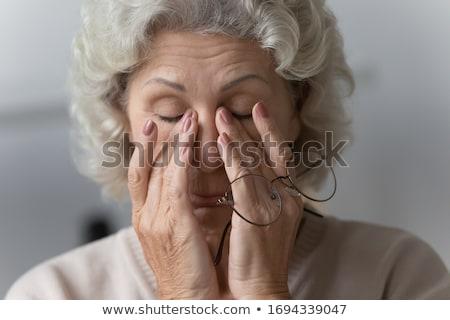 enxaqueca · dor · de · cabeça · mulher · sofrimento · dedos · dor - foto stock © ozgur
