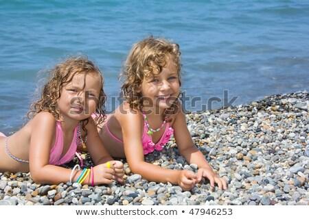 família · mar · praia · tropical · férias · praia · menina - foto stock © paha_l