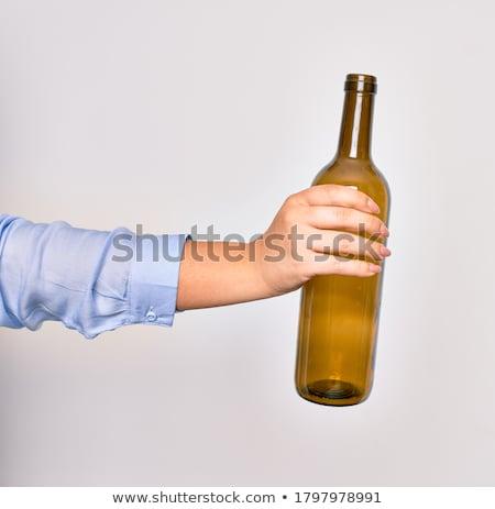 Mulher vazio garrafa de vinho bela mulher garrafa Foto stock © piedmontphoto