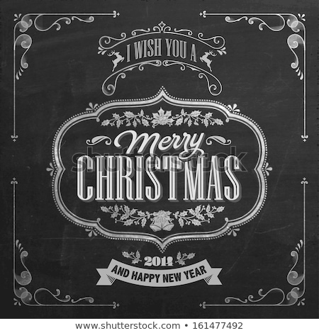 Stock photo: Christmas vintage chalk text label on a blackboard