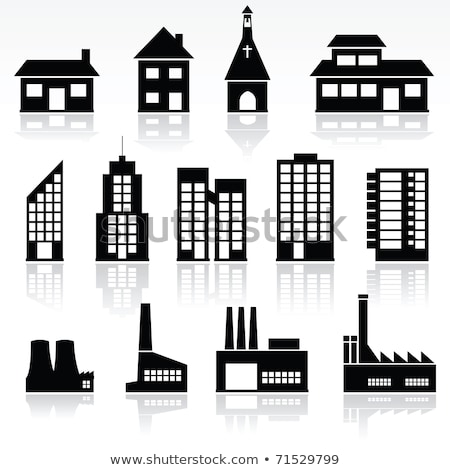 vector black and white icons of church buildings stock photo © freesoulproduction