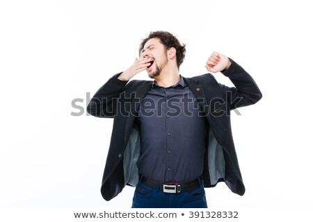fáradt · üzletember · szieszta · izolált · kimerült · asztal - stock fotó © deandrobot