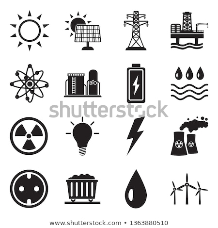 Power plant icon vector symbol set on black Stock photo © Samoilik