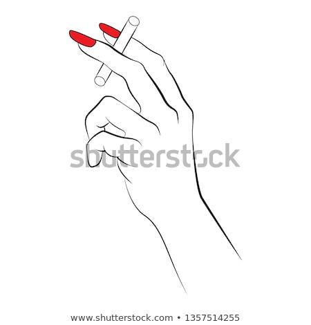female hand holding cigarette stock photo © deandrobot